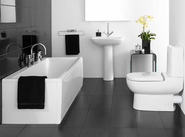 Charcoal Bathroom Floor Tile Modern
