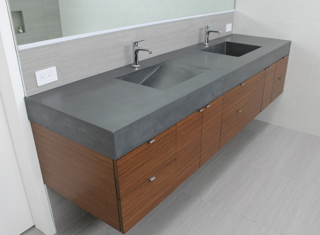 charcoal concrete double sink vanity. Black Bedroom Furniture Sets. Home Design Ideas
