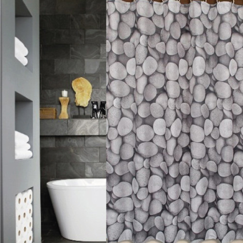 Charcoal Grey Pebbles Unique Shower Curtain 12 Pebble Hooks Contemporary Bathroom