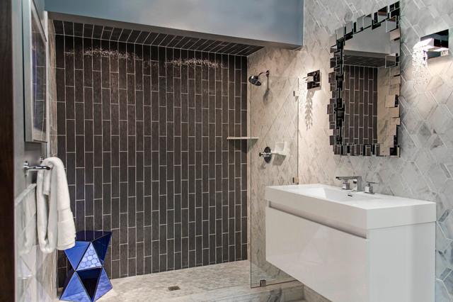 Charcoal Rain Glass Shower Contemporary Bathroom