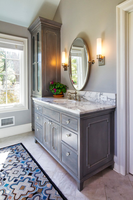 Charming cape cod renovation traditional bathroom new york by knight architects llc - Charming bathroom cabinets ...