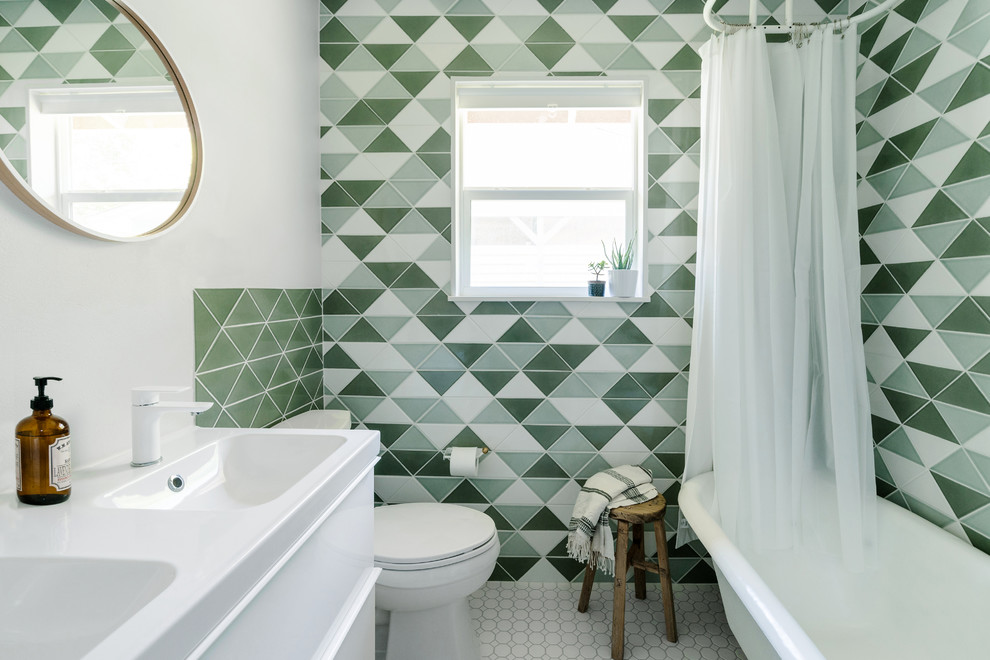 Inspiration for a transitional master multicolored tile, green tile, white tile and ceramic tile shower curtain remodel in Austin with flat-panel cabinets, white cabinets, white walls and an integrated sink