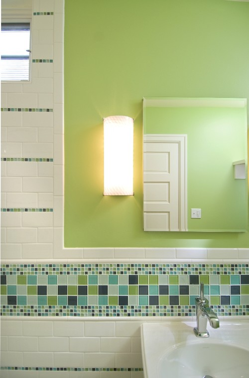 Mosaic wall tile and green wall color info?