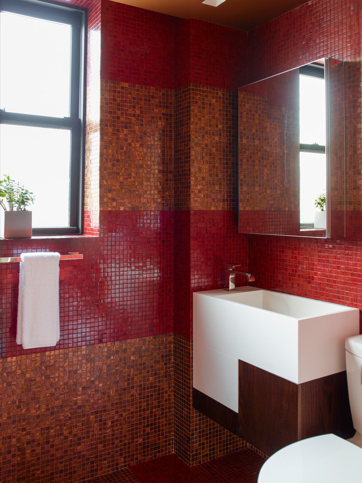 Example of a trendy red tile and mosaic tile bathroom design in New York with a wall-mount sink, flat-panel cabinets, white cabinets and red walls