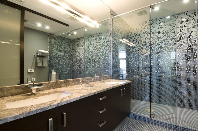 Chen Custom Glass Tile Gradient Shower Surround