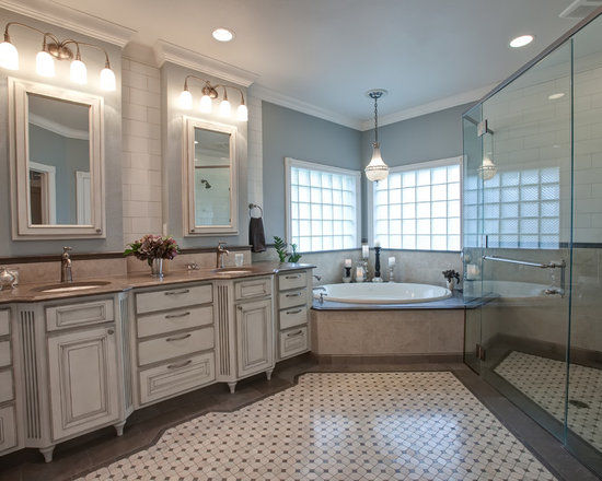 Decor with Distressed Cabinets, Limestone Countertops and Blue Walls