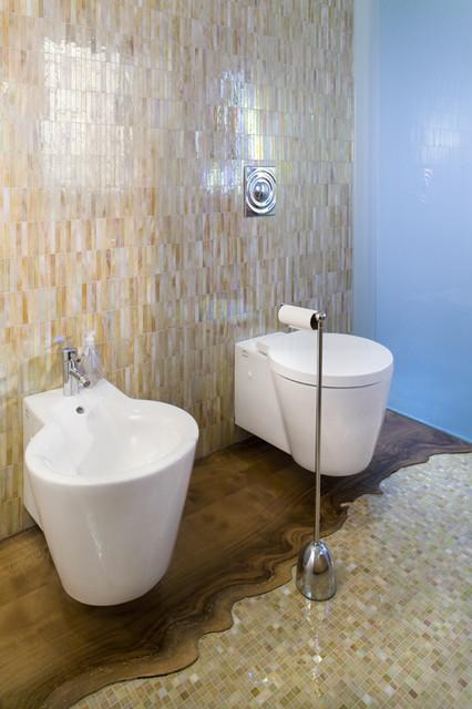 Example of a trendy brown tile bathroom design in San Francisco