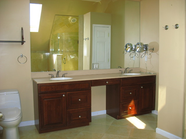 Cherry double sink master bathroom vanity mediterranean for Master vanity ideas