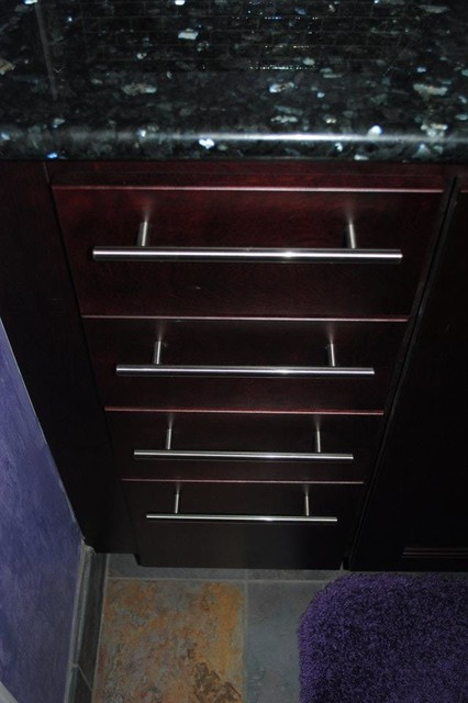 Cherry Java Cabinets, Bar Pull Hardware, Granite Tops - Contemporary - Bathroom - Other - by ...