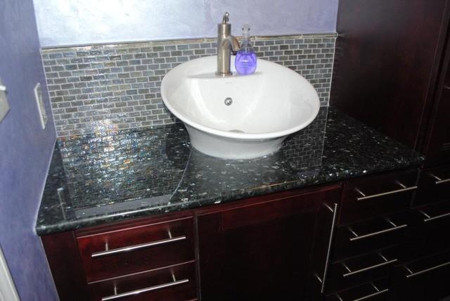 Cherry Java Cabinets, Granite Top, Brushed Nickel Fixtures ...