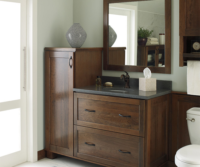 Cherry Vanity Cabinet Transitional Bathroom Denver By Cw Kitchen Bath Design Center