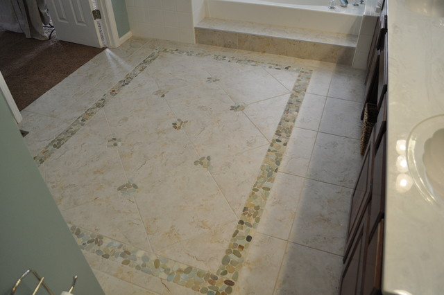 Chesterfield, MO Bathroom ~ Tile Area Rug with stone pebbles ...