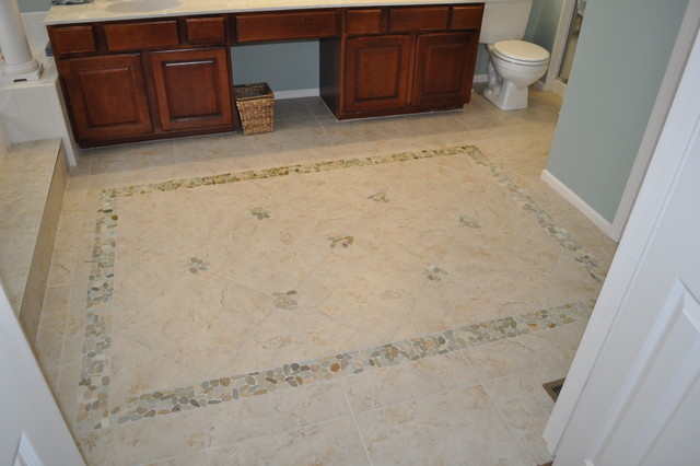 Chesterfield mo bathroom tile area rug with stone for Master bathroom rugs