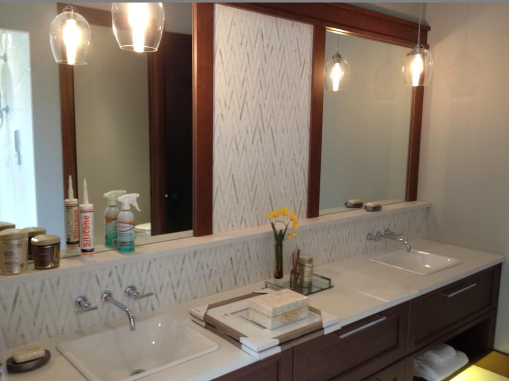 Chevron Fireplace - Contemporary - Bathroom - Edmonton ...
