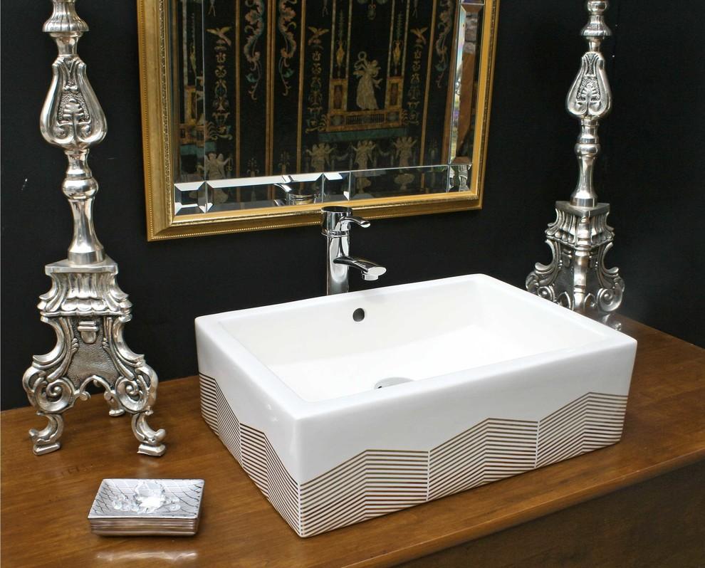 Chevron Hand Painted Sink in Black Bathroom - Eclectic ...