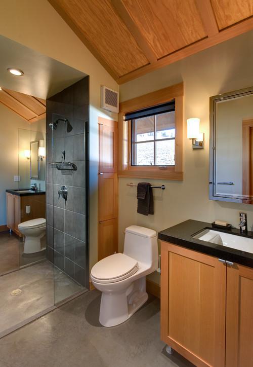 Contemporary black bathroom countertops