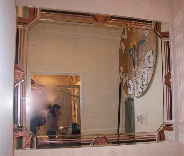 Cheyenne Decorative Mirror with Etched, Carved Design bathroom