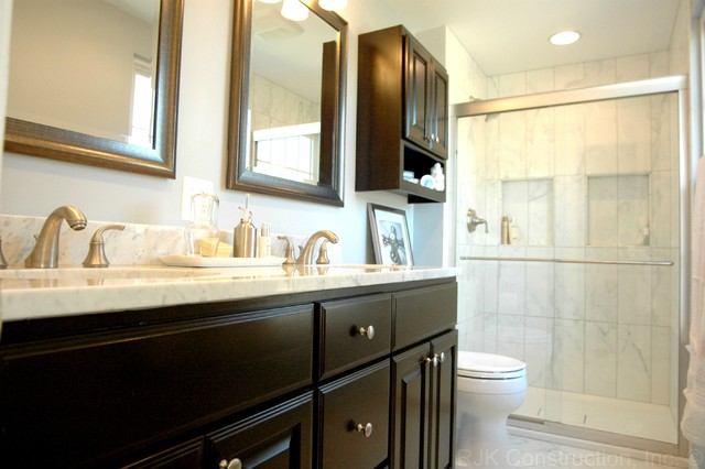 chic bathroom remodel transitional bathroom - Small Master Bathroom Designs