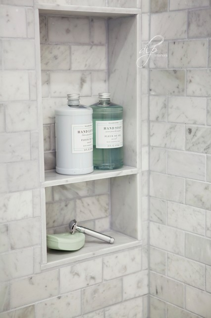 Chic Transitional Marble Guest Bathroom Shower Niche