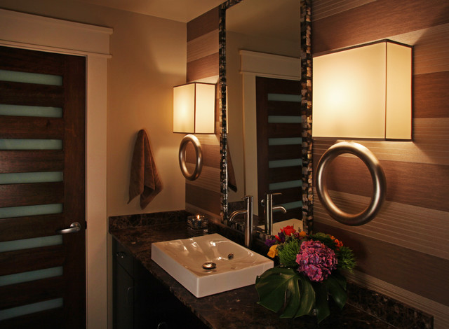 Inspiration for a mid-sized contemporary 3/4 alcove shower remodel in Chicago with a vessel sink, flat-panel cabinets, dark wood cabinets, granite countertops and brown walls