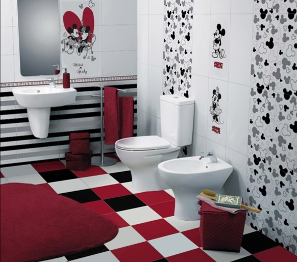 Childrens Bathroom With Disney Tiles Contemporary