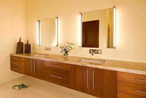 Are vertical vanity lights attached to mirror or separate brand aloadofball Choice Image