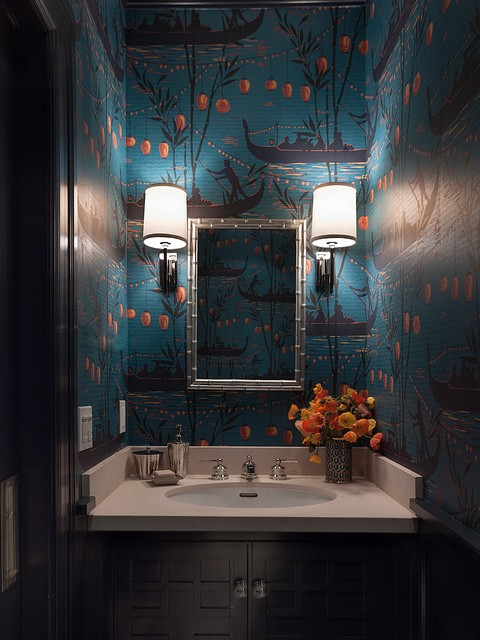 Chinoiserie Powder Room transitional-bathroom