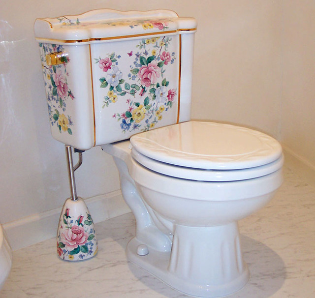 Chintz and Gold Hand Painted Toilet - Traditional - Bathroom ...