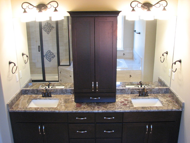 Chocolate Bordeaux Granite On Cherry Espresso Cabinets Modern Bathroom
