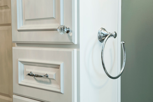 Chrome & crystal hardware on white raised panel cabinets - Transitional - Bathroom ...