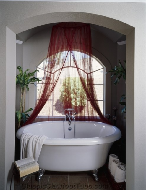 Circular Clawfoot Tub In A Bathroom Enclave Contemporary