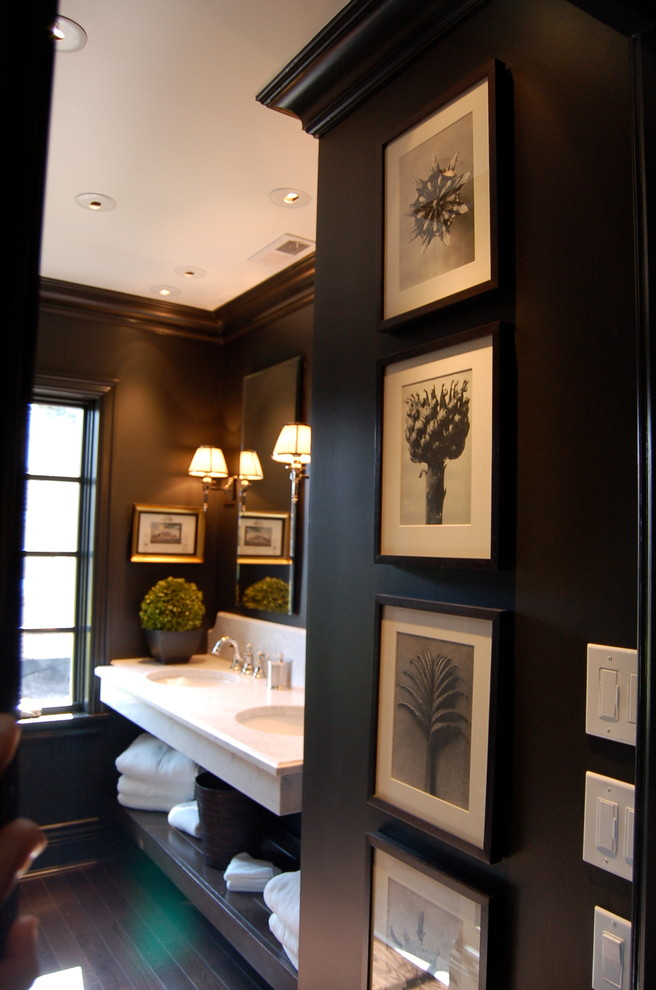 Bathroom - large transitional master gray tile and white tile dark wood floor bathroom idea in Chicago with open cabinets, dark wood cabinets, an undermount sink, quartz countertops, a two-piece toilet and black walls