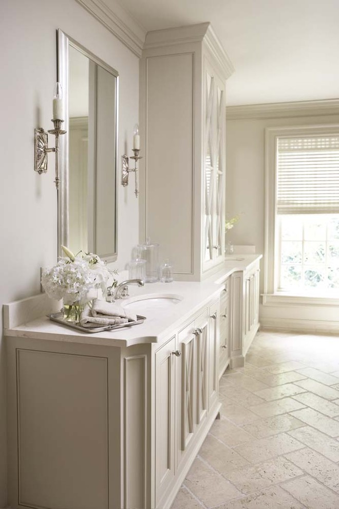 Inspiration for a huge transitional master travertine floor bathroom remodel in Other with beige cabinets, limestone countertops, beige walls, an undermount sink and recessed-panel cabinets