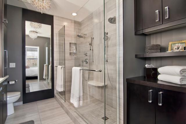 Clasen master suite remodel for Fotos de cuartos de bano con ducha modernos