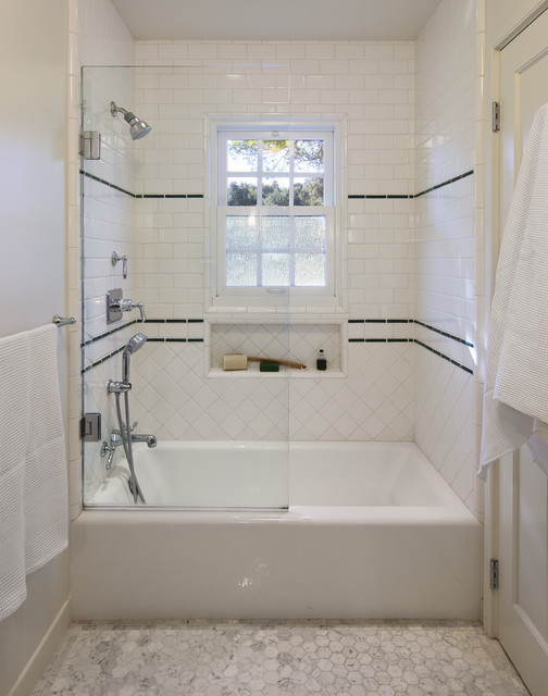 Classic 1930 39 s tile work for shower traditional for Classic bathroom ideas