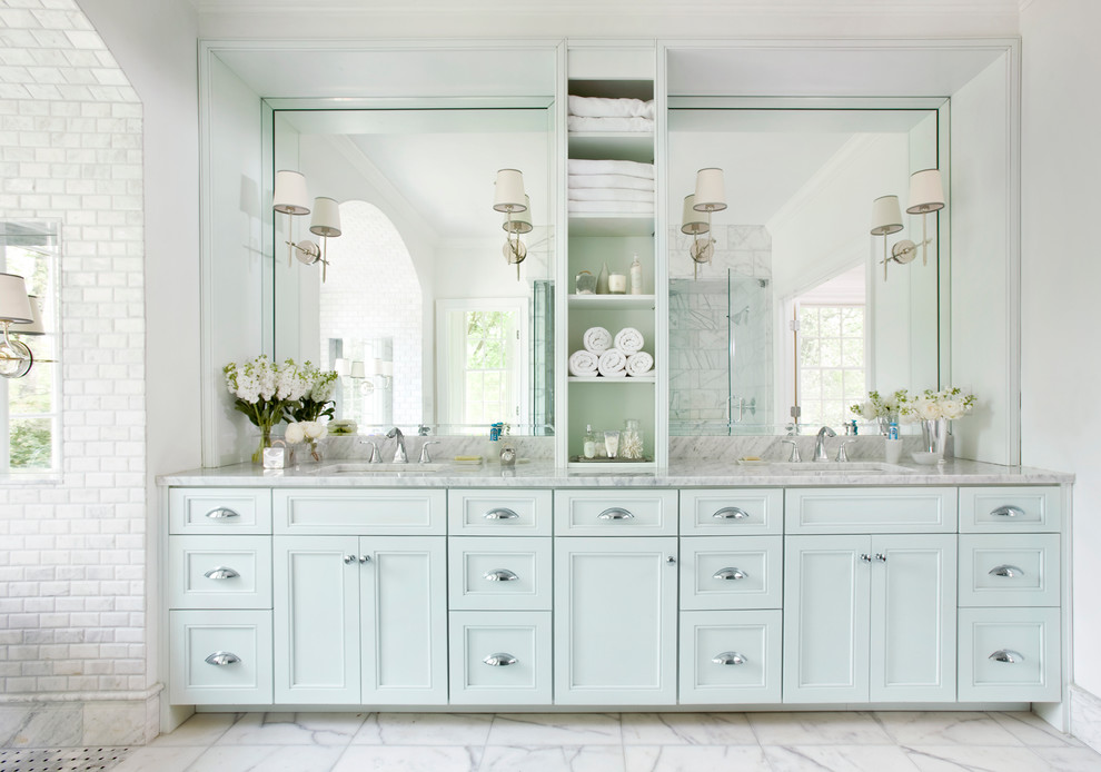 Bathroom - large traditional master white tile and subway tile marble floor bathroom idea in Atlanta with blue cabinets, recessed-panel cabinets, white walls, an undermount sink and marble countertops
