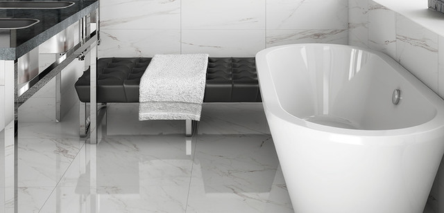 Classic Bianco Carrara Porcelain Tile Bathroom Toronto