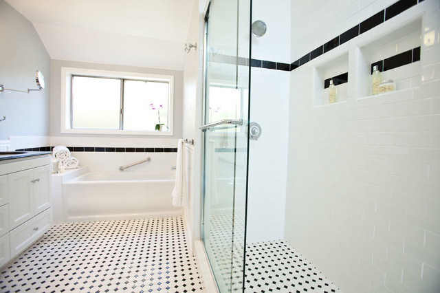 Classic black white bathroom remodel traditional for White bathroom renovations