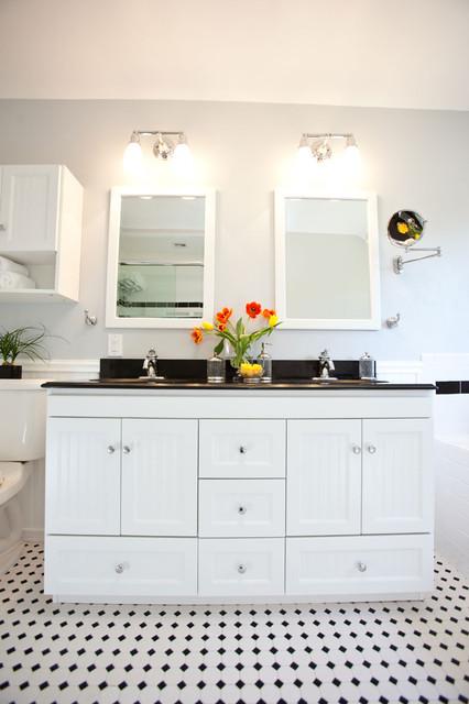 Classic Black & White Bathroom Remodel - Traditional ...