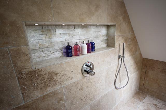 Classic Loft Batrhoom With Linear, Travertine Tile Bathroom Shower