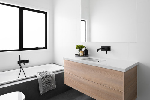 simple bathroom with timber, white and grey
