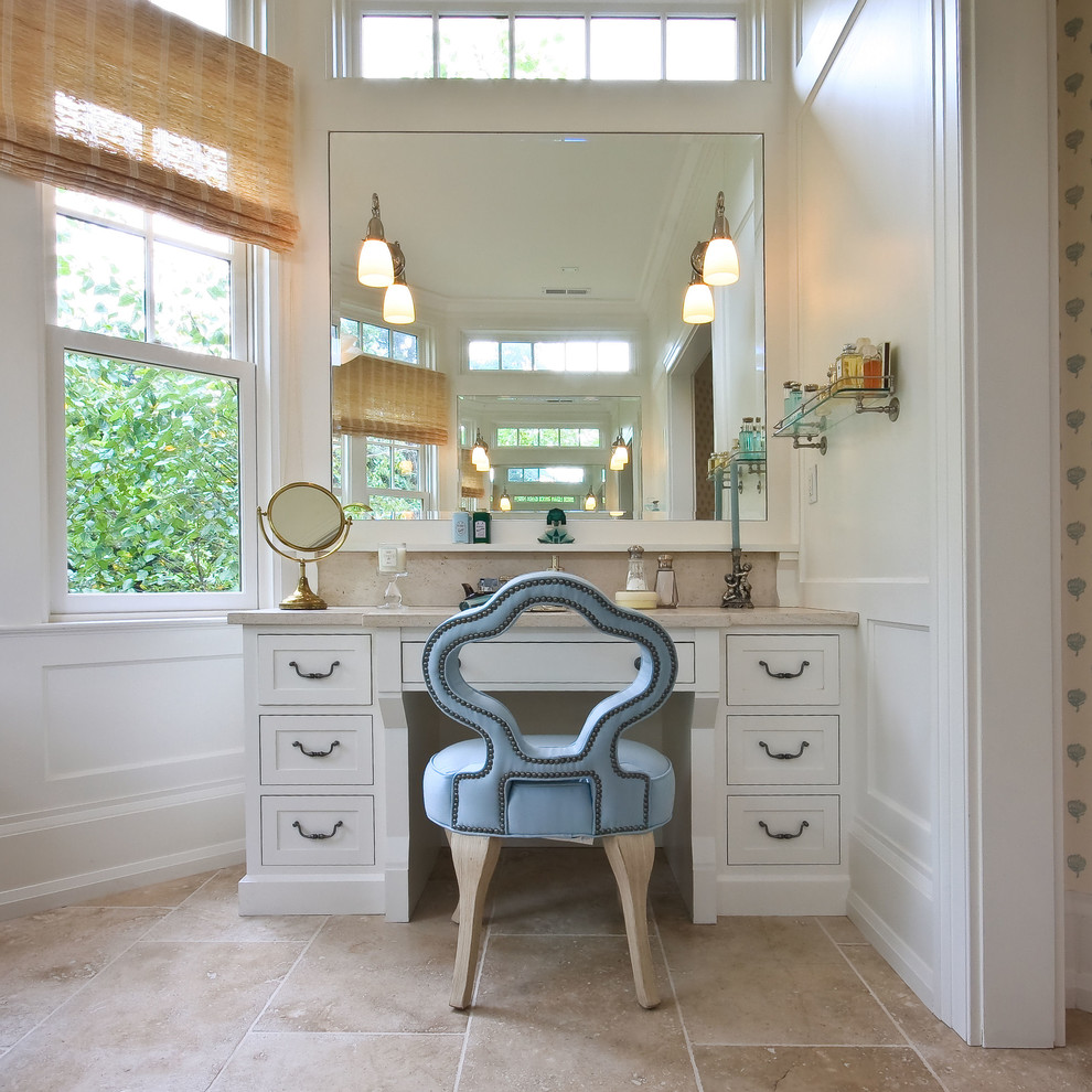 Bathroom - traditional bathroom idea in New York with shaker cabinets, white cabinets and white walls