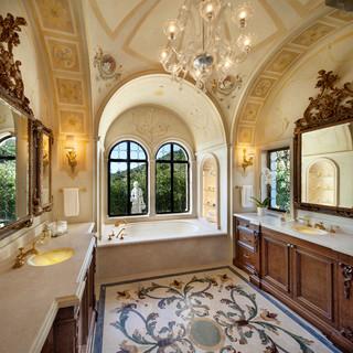 Classic Palladian Villa - Mediterranean - Bathroom - Santa Barbara