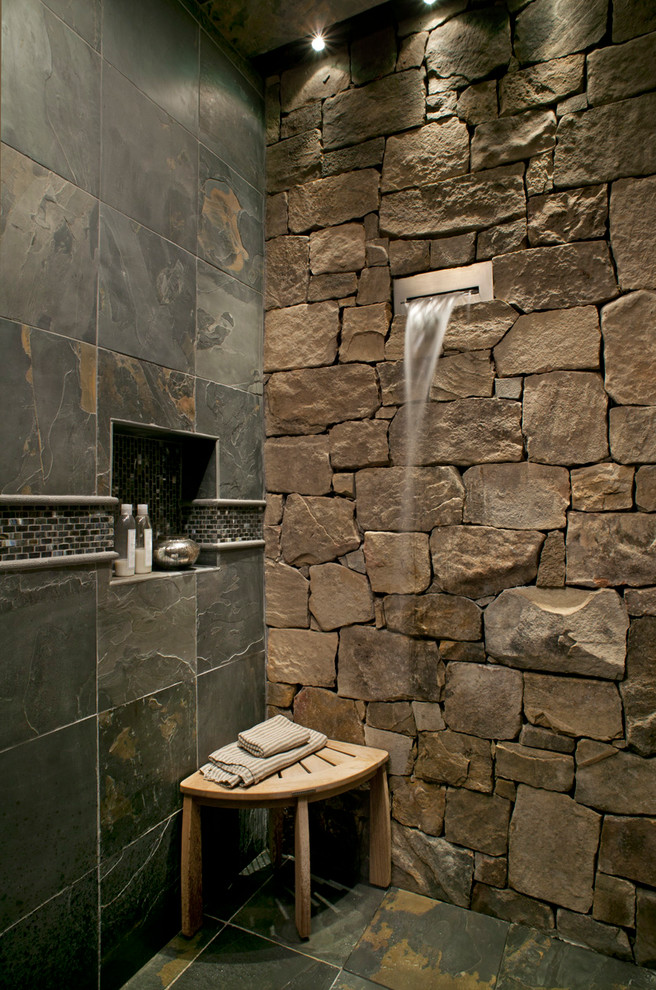 Mountain style slate tile bathroom photo in Other