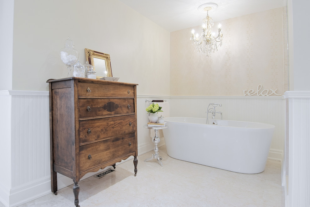 Inspiration for a timeless freestanding bathtub remodel in Toronto