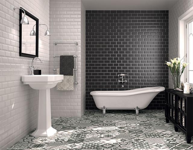 Classic Subway Tile Bathtub Surround Midcentury Bathroom Part 38