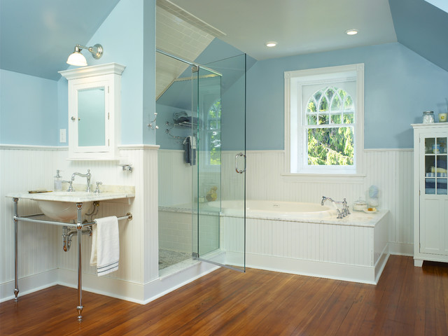 Interior Cottage Bathroom cottage bathroom houzz victorian subway tile idea in philadelphia with a console sink