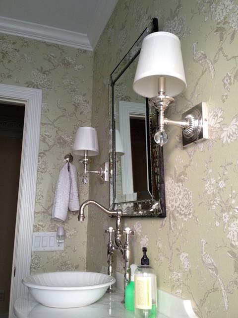 Classic Wallpaper Pattern Contemporary Bathroom
