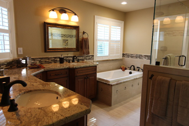 Classic warm master bath traditional bathroom san for Warm bathroom