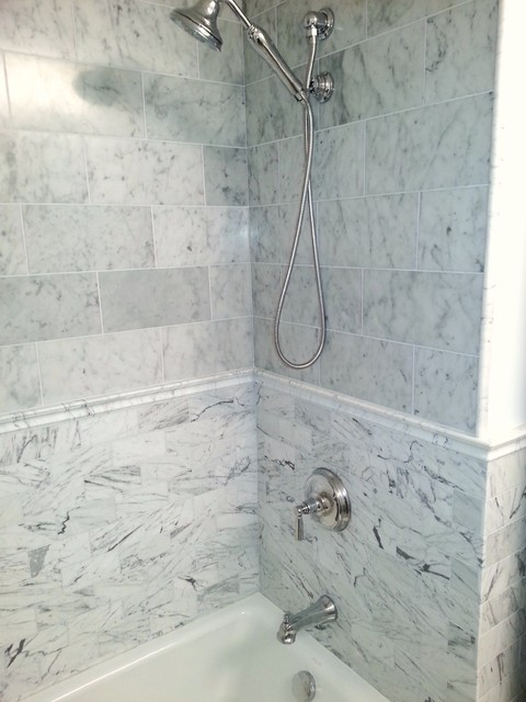 White Marble Tile Bathroom classic white marble tile - traditional - bathroom - dc metro -
